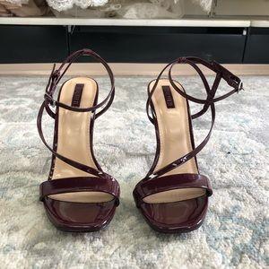 Strappy Burgundy Stiletto High Heels